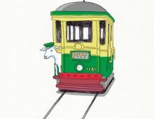 Lamb on a tram